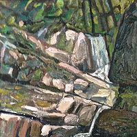 Oil painting Tumblin Falls by Edward Miller