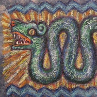 Drawing Quetzalcoatl doubleserpent by Emily K. Grieves