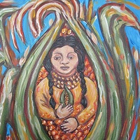 Acrylic painting Corn maiden by Emily K. Grieves