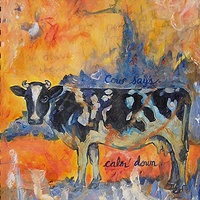 Mixed-media artwork Cow says calmdown by Emily K. Grieves