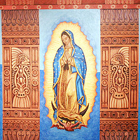 Acrylic painting La Virgencita of the Dreaming House by Emily K. Grieves