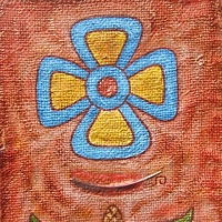 Acrylic painting Flor de Cuatro Petalos (Four Petaled Flower) by Emily K. Grieves
