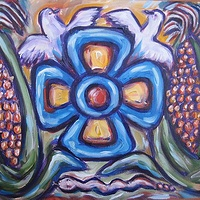 Acrylic painting 4 petaled flower between heaven and earth by Emily K. Grieves