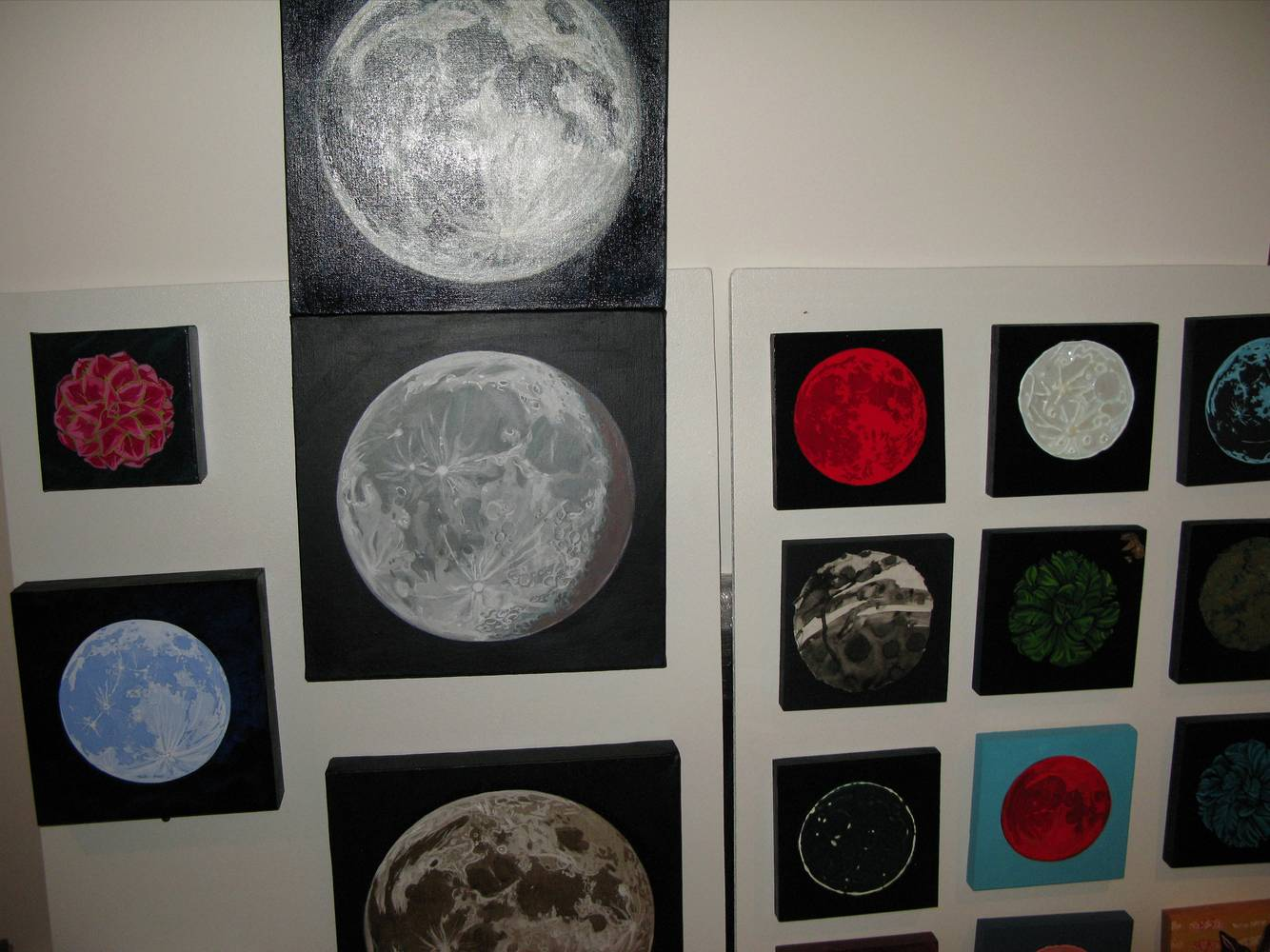 Moon paintings in the studio by Amber Macgregor