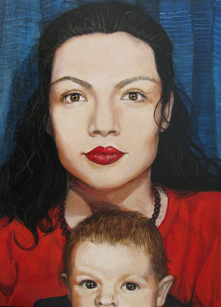 Acrylic painting Catherine and Michael circa 1989/90 by Amber Macgregor