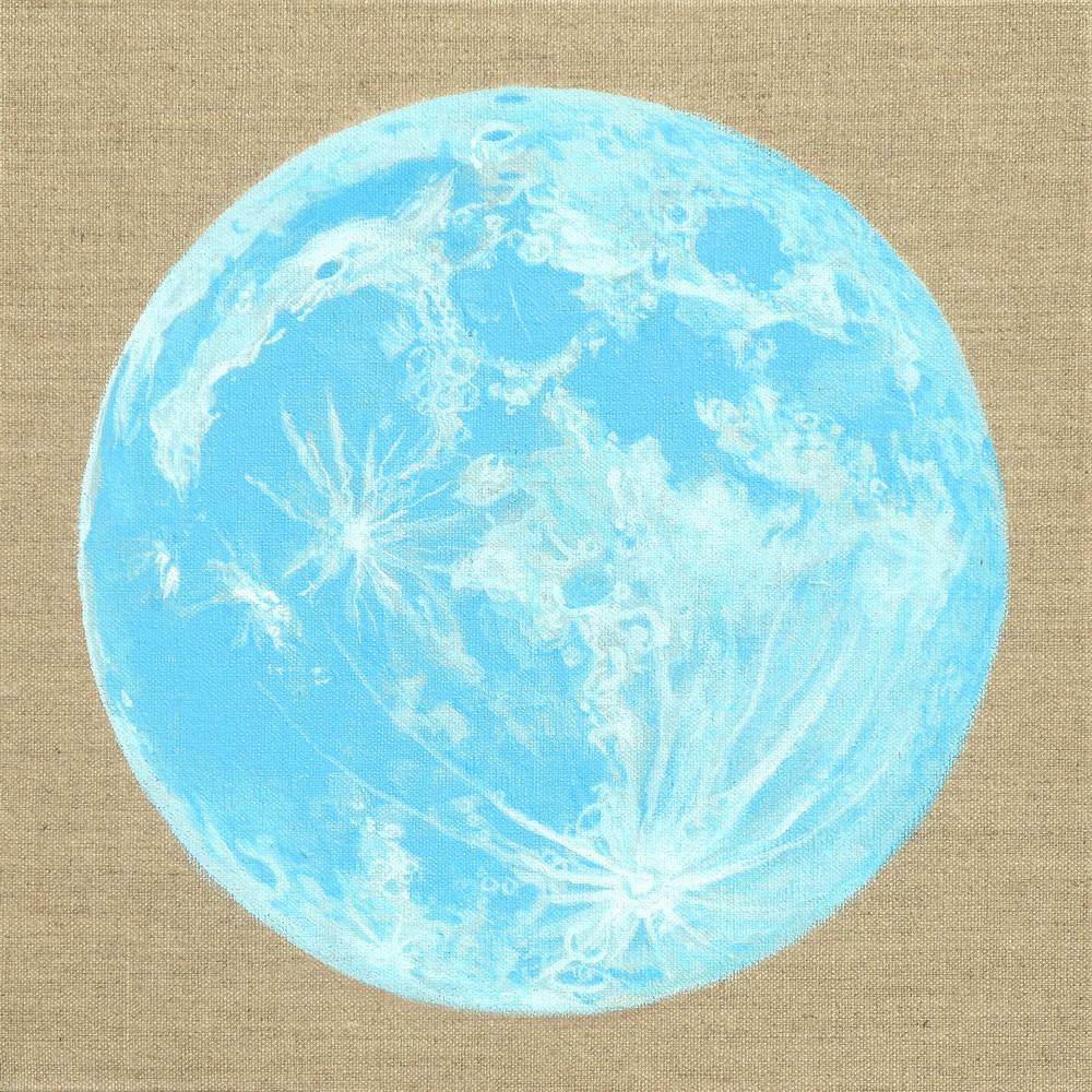 Acrylic painting Moon Portrait 5, Blue Moon by Amber Macgregor