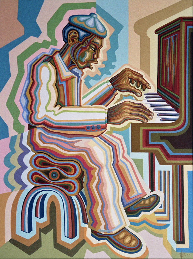 "Oil painting ""Piano Player"" by Melvin Clark"