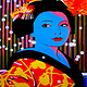 Oil painting Blue Geisha with snowflakes  by Guntis Jansons