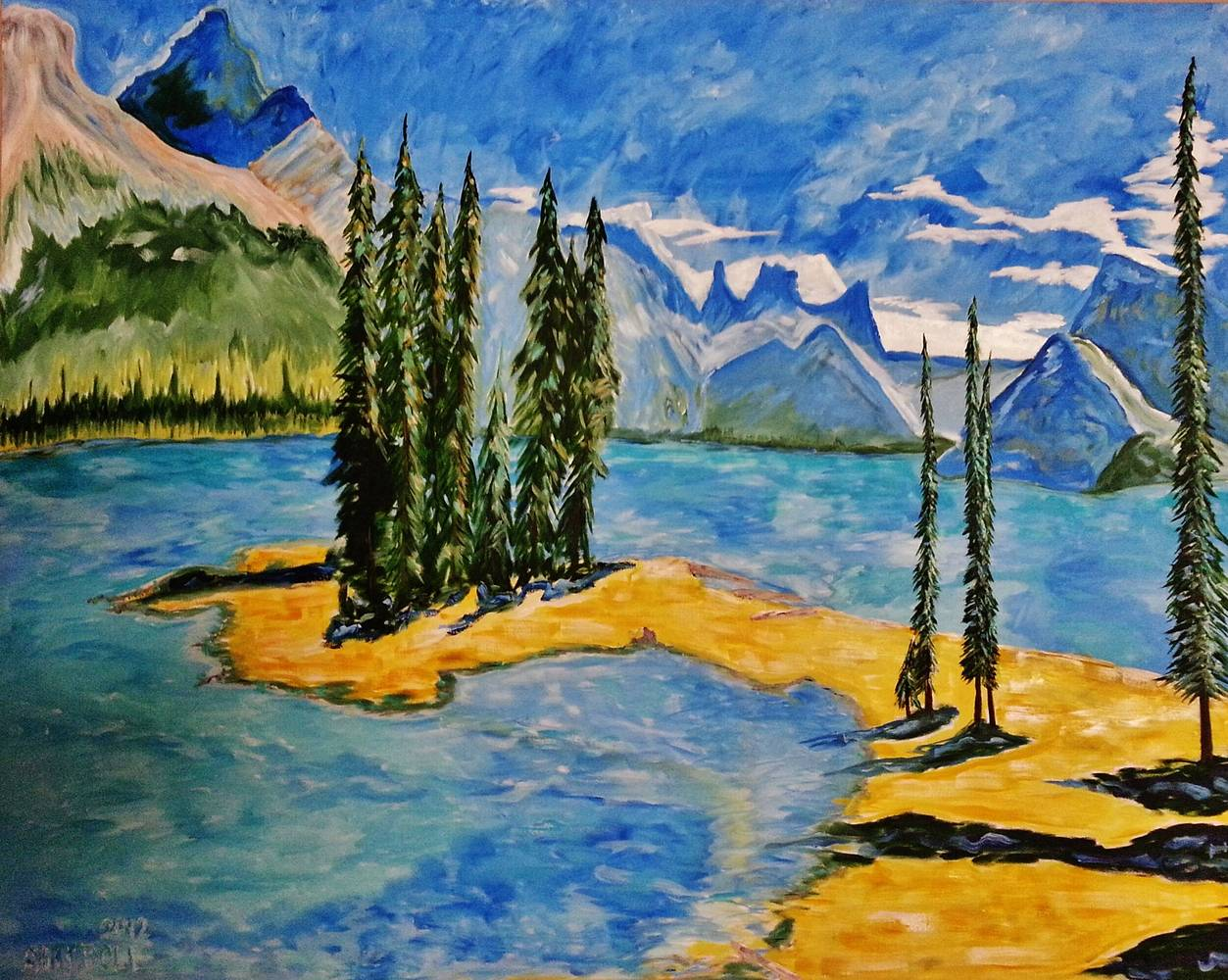 Oil painting Maligne Lake-Alberta by Gary Doll
