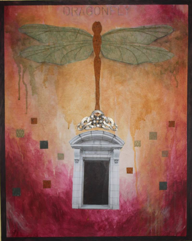 Acrylic painting Dragonfly Door by Claudia Stewart