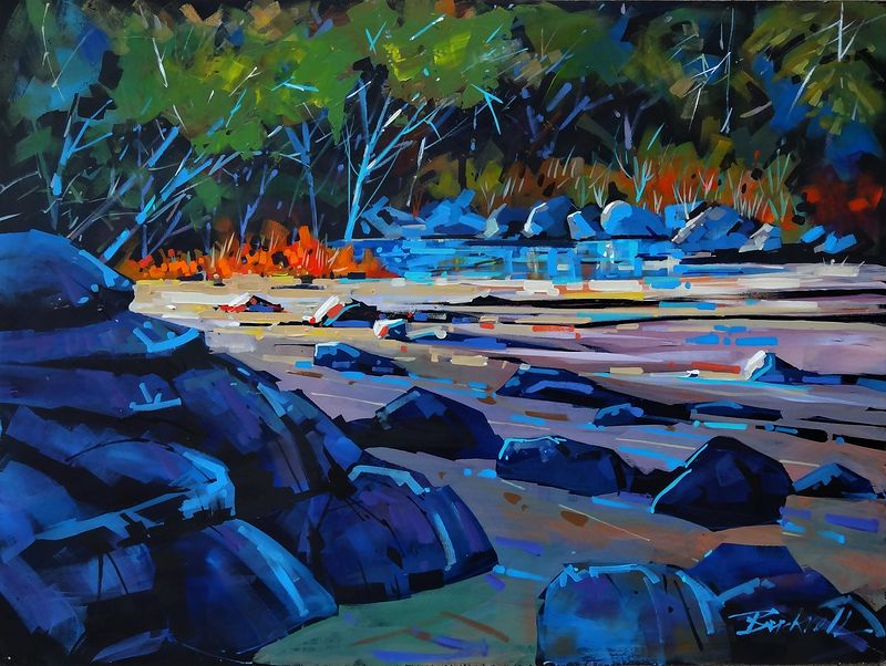 Morning Tidal Pool Acrylic 18x24 2013 by Brian  Buckrell
