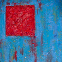 Acrylic painting RED FLOATING SQUARE by Jose Londono
