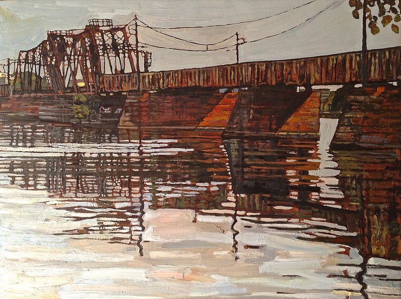 Oil painting Long Railroad Bridge by Edward Miller
