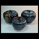 three lidded pots blue series 2013-111,112,113 by Elaine Clapper
