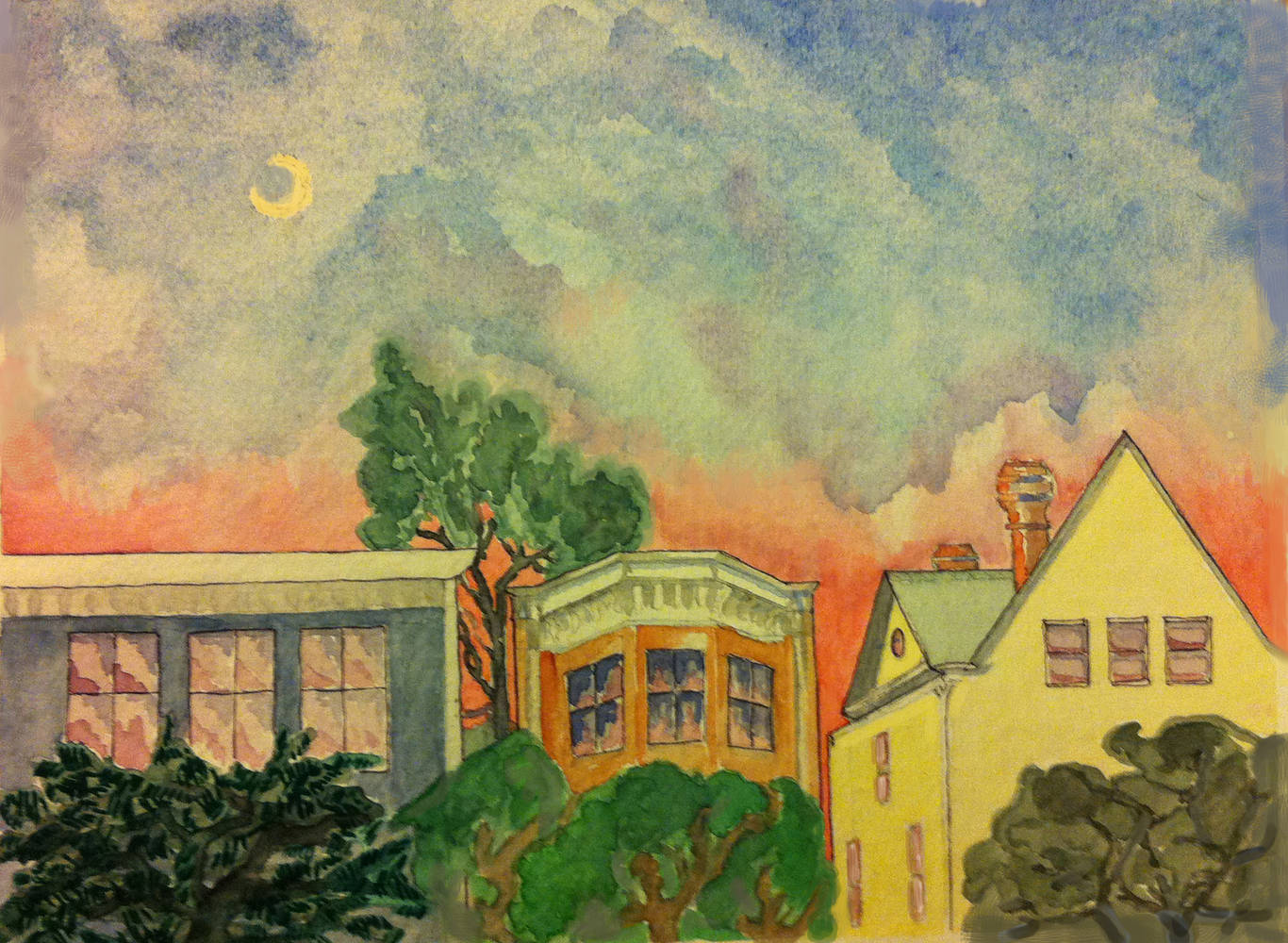 Watercolor Sunset with Copper Chimneys by Anastasia O'melveny