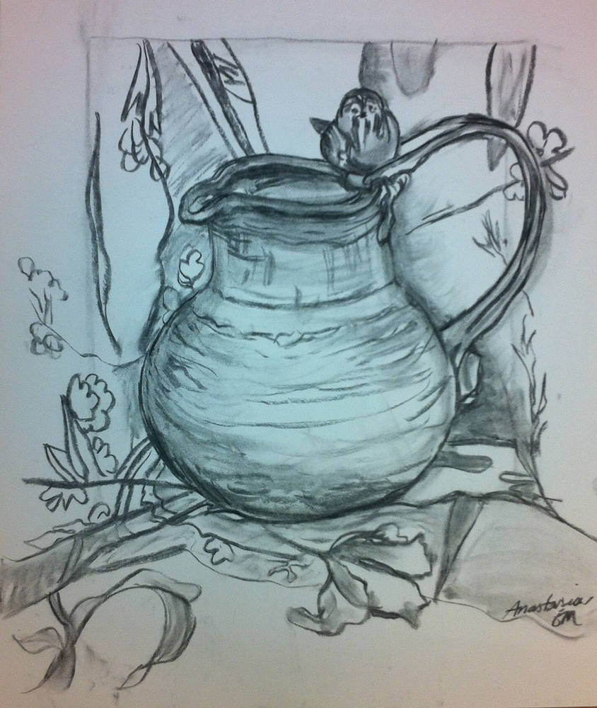 Drawing Stoneware Vase with Sparrow by Anastasia O'melveny