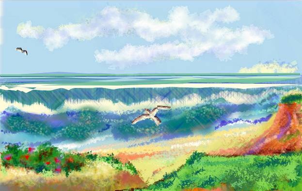Painting Gulls and Surf by Anastasia O'melveny