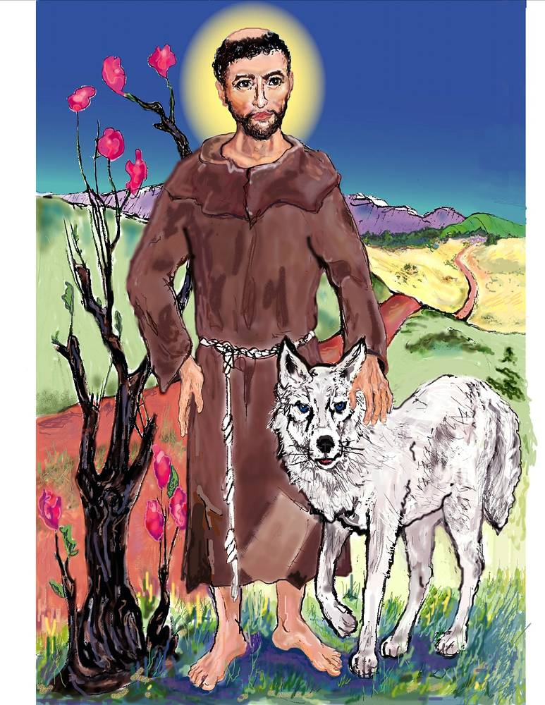 Painting St. Francis and The Wolf   by Anastasia O'melveny