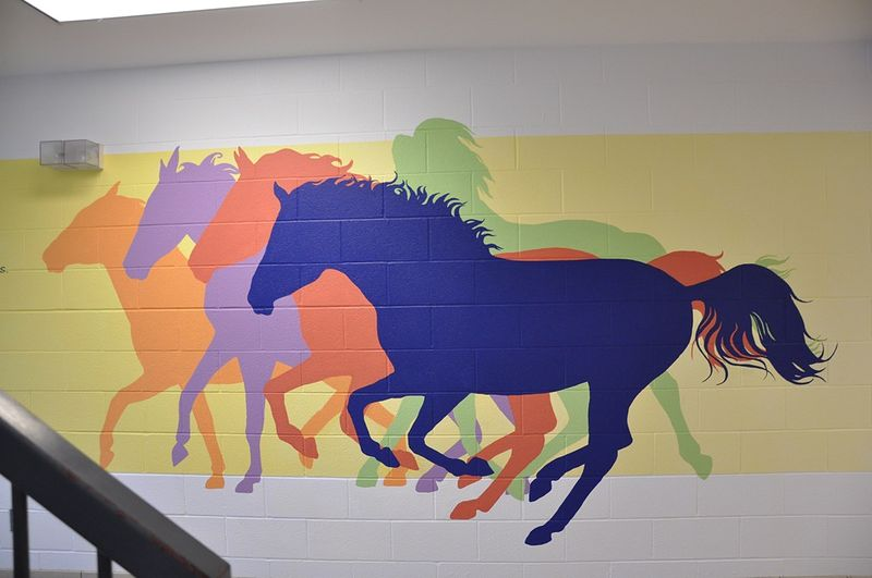 Painting Boxwood P.S. Touchstone Mural - Detail of Horses by Cindy Scaife