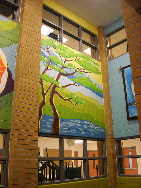 Painting Silver Stream P.S. - Library - Four Seasons Mural - SUMMER by Cindy Scaife
