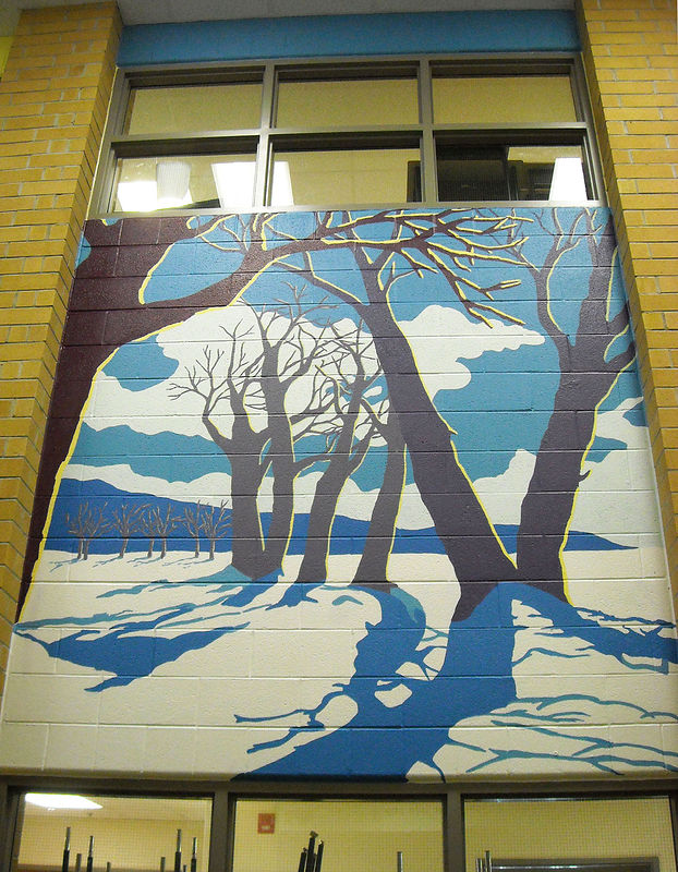 Painting Silver Stream P.S. - Library - Four Seasons Mural - WINTER by Cindy Scaife
