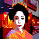 Oil painting Geisha in the street  by Guntis Jansons