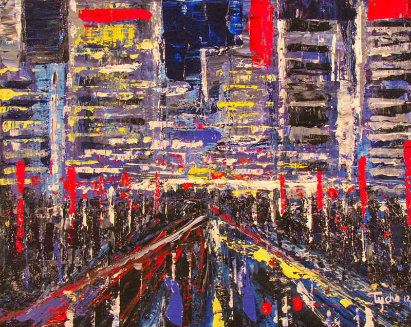 Acrylic painting Study for Tokyo Rhythms by David Tycho