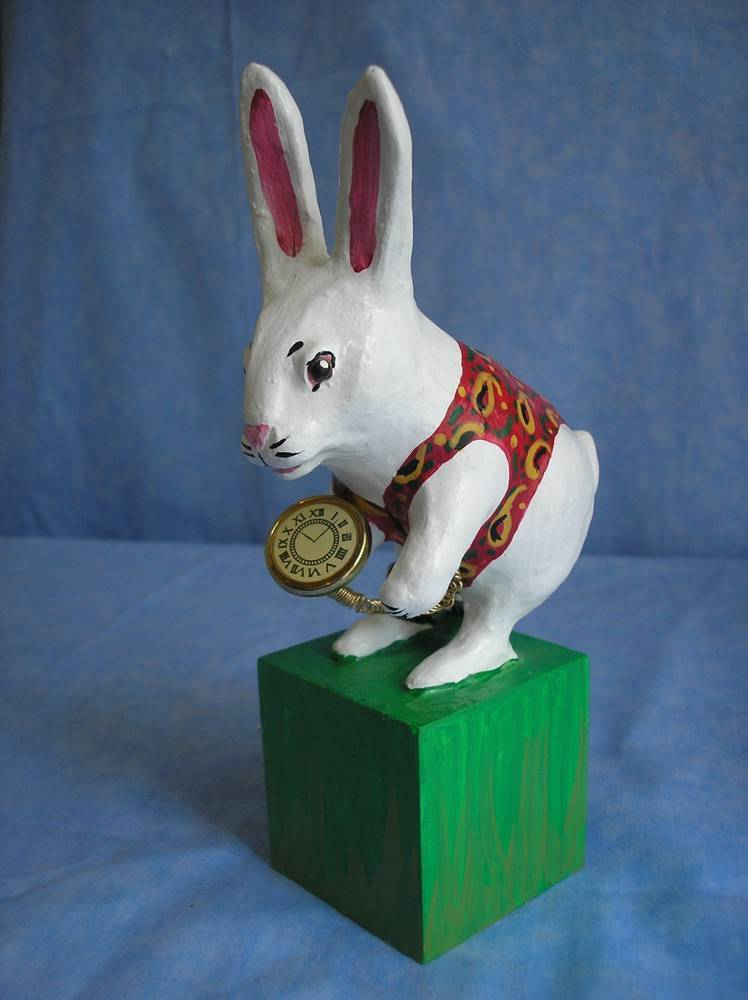 Sculpture white rabbit by Valerie Johnson