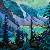 Moraine Lake View  Acrylic 24x24 2013 by Brian  Buckrell