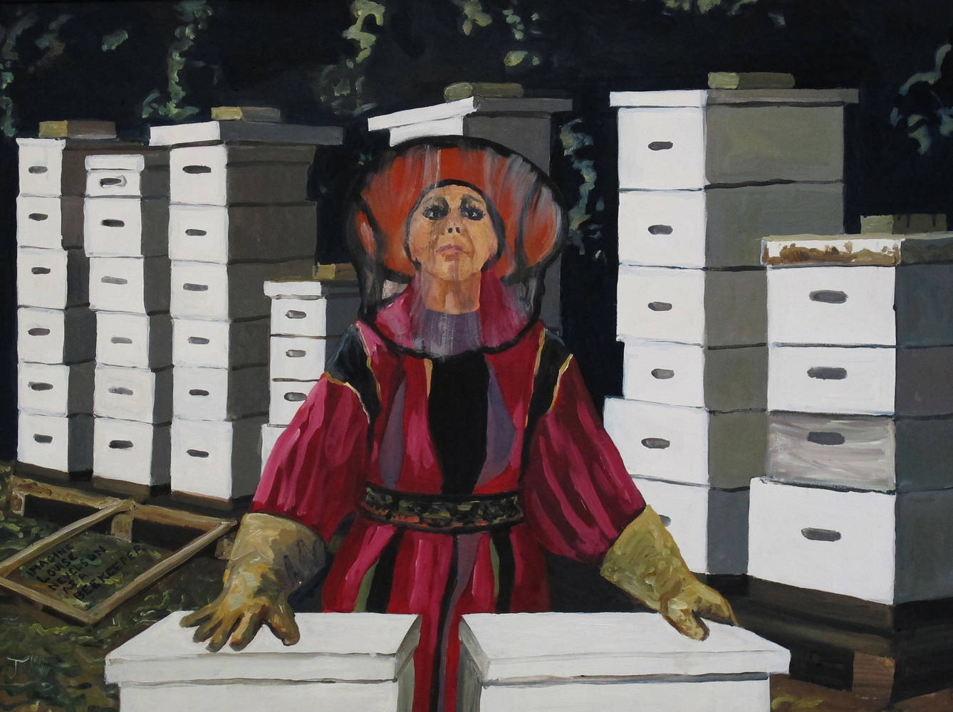 Oil painting  Imagine Louise Nevelson As a Beekeeper, 2012 by David  Maxim