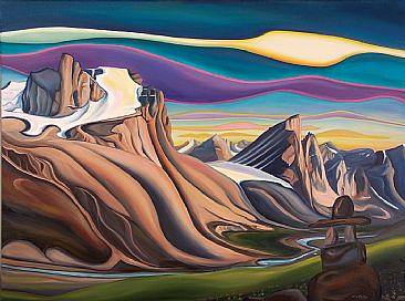 Oil painting The Land that Never Melts, 2011 by Linda Lang