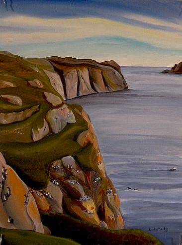 Painting Thick-Billed Murres on Bird Cliffs, 2010 by Linda Lang