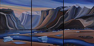 Oil painting Low Tide, Pangnirtung, Baffin Island, Triptych, 2008 by Linda Lang