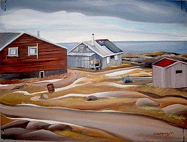 Oil painting Home in Chesterfield Inlet, Nunavut, 2009 by Linda Lang