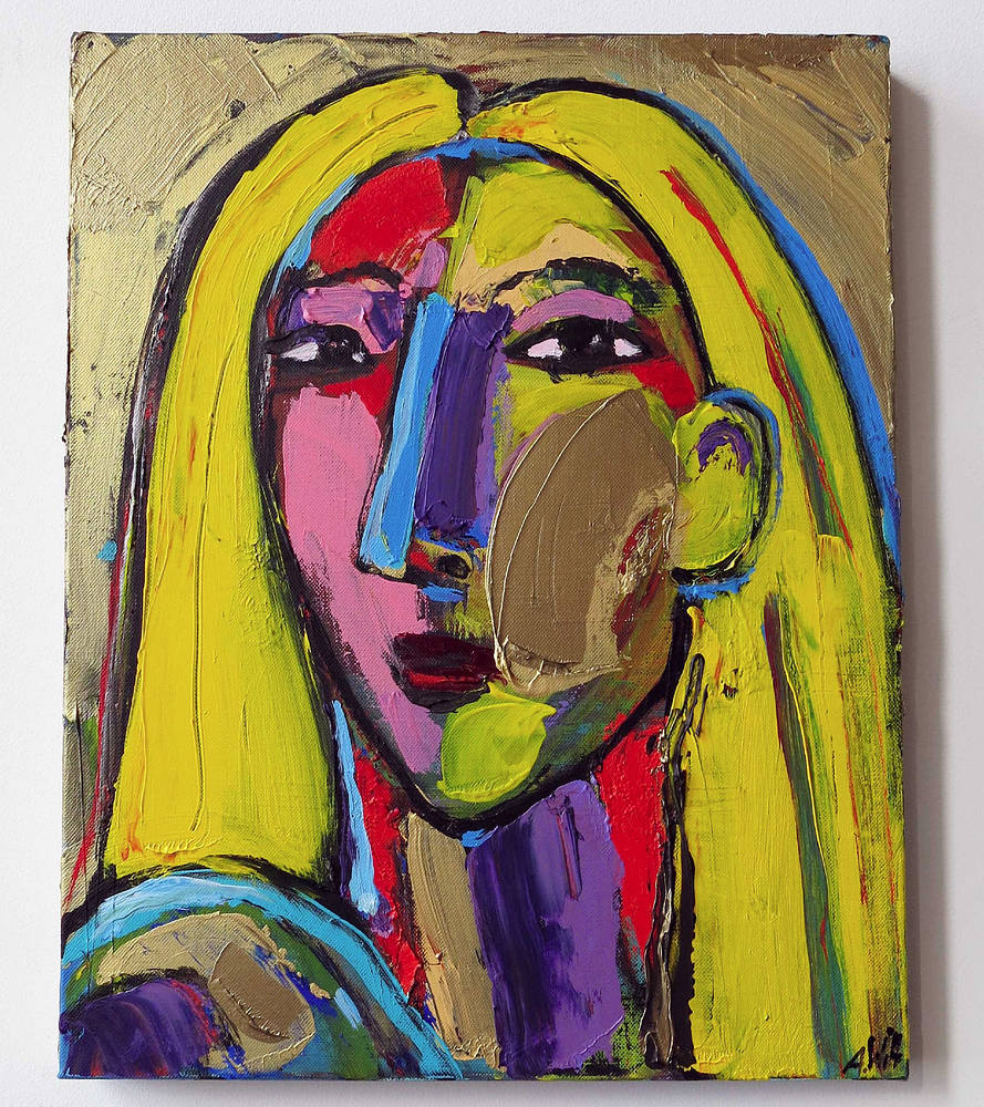 Acrylic painting Girl with Yellow hair by Allen  Wittert