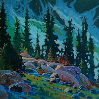 Whistler Slope  Acrylic 30x40 2013 by Brian  Buckrell