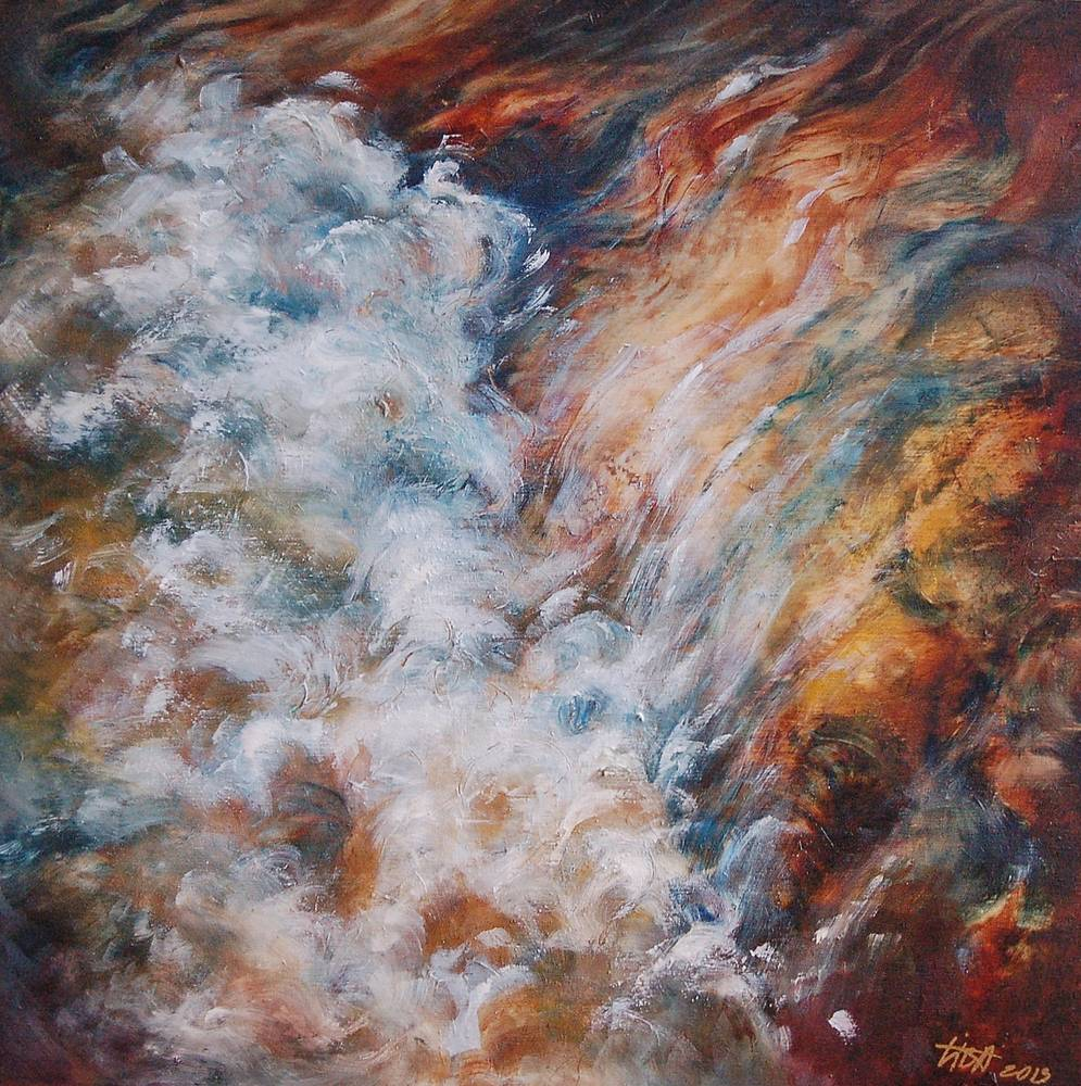 Oil painting Sparkles and Light under the Waterfall  by Liba Labik
