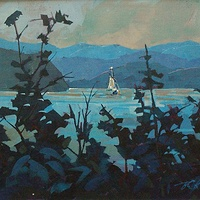 Into Okeover Inlet Acrylic 12x16 2010 by Brian  Buckrell