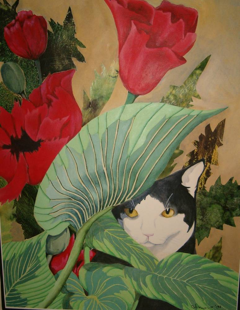 Acrylic painting Samantha in the Garden by Claudia Stewart