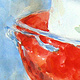 Watercolor Red Colander by Deborah Carman