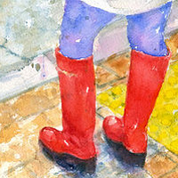 Print Red Boots by Deborah Carman