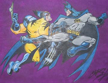 Drawing Wolverine and Batman by Clayton King