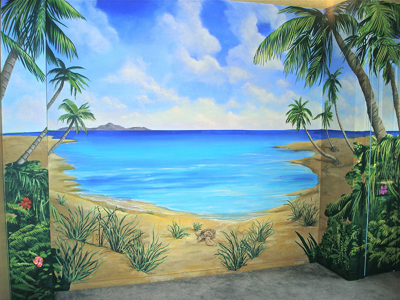 Beach mural teen bedroom cindy scaife for Beach mural painting