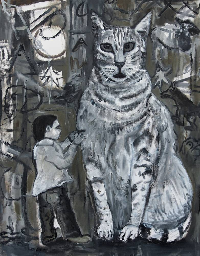 Boy and Cat_ by Dennis Worrel