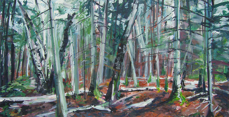 Acrylic painting Victoria Beach woods by Shawn Jordan