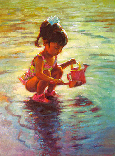 "Oil painting ""Early Reflections"" by Kim Fujiwara"