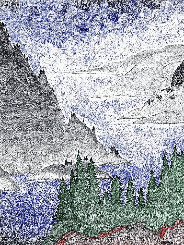 Drawing Stormy Okanagan  1 by Lawrie  Dignan