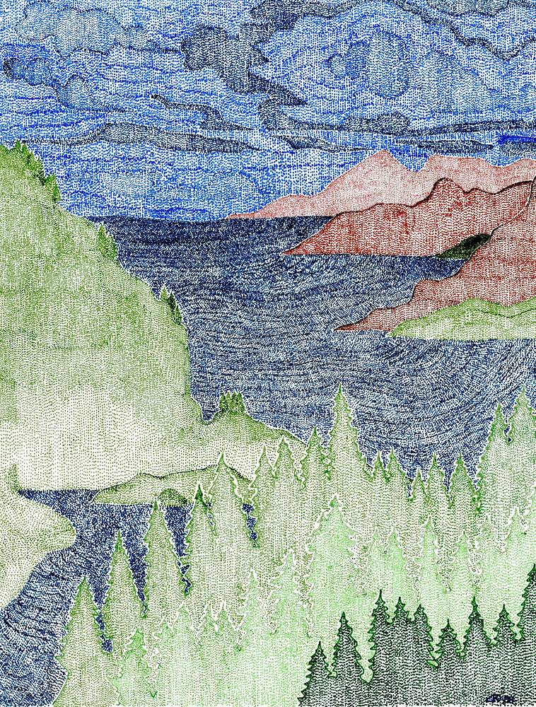 Drawing Stormy Okanagan 3 by Lawrie  Dignan