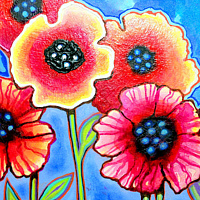 Acrylic painting Poppies and Blue Sky by Agnes Friedlander