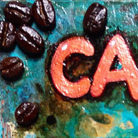 Acrylic painting Cappuccino Beans by Agnes Friedlander